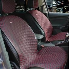 Накидки из алькантары Palermo на передние сидения черный/отстрочка красная 2 шт.