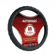 Кожаная оплётка на руль Autoprofi AP-265 L черный
